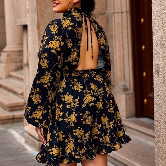 Mock Neck Lantern Sleeve Belted Floral Dress
